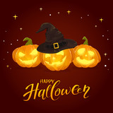 Happy Halloween and Pumpkins with Black Witch Hat