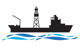 Drilling ship icon oil and gas industry vector - 225514913