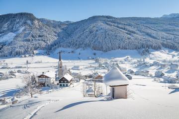 Winter mountain village at Gosau, Austria