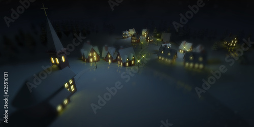 illuminated village at winter calm night with church, winter seasonal 3D illustration background © learchitecto