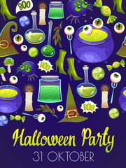 Halloween party poster with pattern. Funny background with scary objects. Vector set with eyes, potion, bones, candy, pumpkin, witches hat in cartoon style. © monamonash