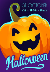 Happy Halloween poster. Funny background with scary objects and pumpkin. Vector sillustration in cartoon style. © monamonash