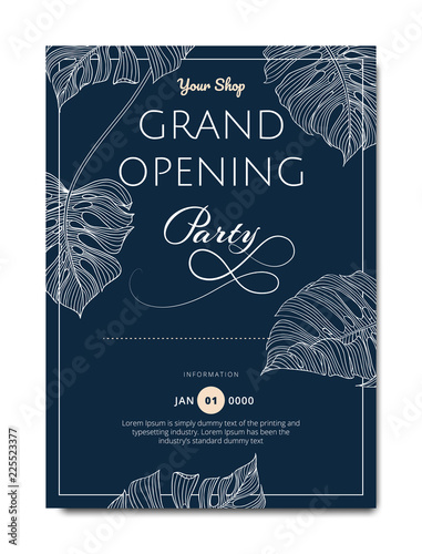 Fototapeta Botanical Grand Opening Invitation Card Template Design Line Art Ink Drawing Split Leaf Philodendron Plant On Dark Blue Background