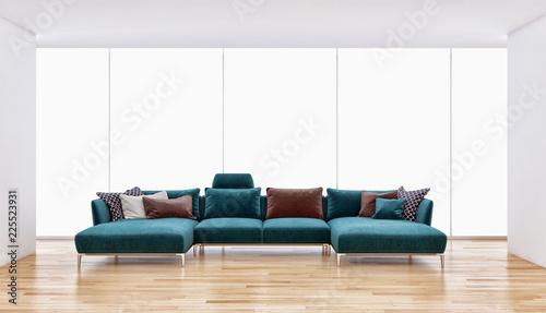 du? e luksusowe nowoczesne jasne wn? trze mieszkania Pokój dzienny z sofą i oknami 3D renderowania ilustracja wygenerowane komputerowo obrazu