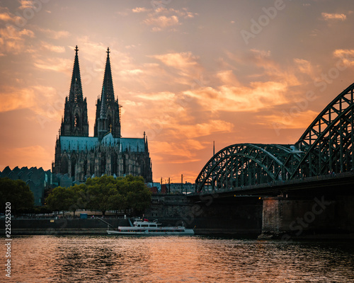 Cologne Cathedral and Hohenzollern Bridge, Cologne, Germany - 225525320