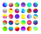 Set of rounded holographic gradient sphere button. Multicolor cyan fluid circle gradients, colorful soft round buttons or vivid color spheres. Vector illustration. Isolated on white background.