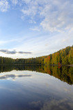 Wallpaper image from autumnal Finland. Reflecting waters with colorful forest. - 225547722