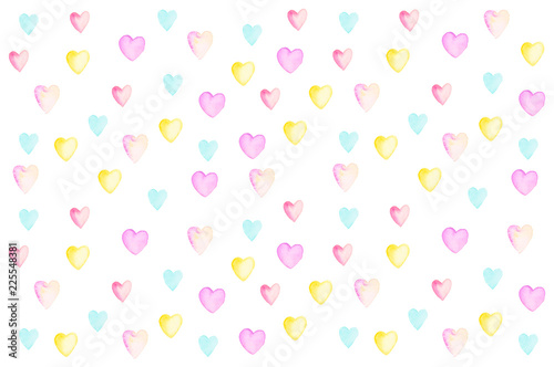 Painting a heart by watercolor on a white background. - 225548381