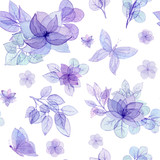 Seamless Pattern of Watercolor Bouquets and Butterflies - 225550971