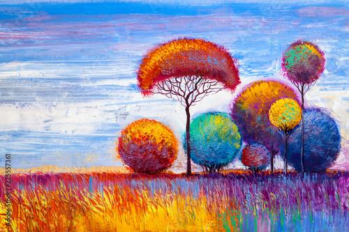 original oil painting of autumn landscape - 225557361