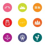 Childlike town icons set. Flat set of 9 childlike town vector icons for web isolated on white background - 225563988