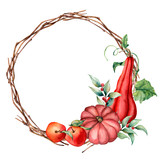 Watercolor card with wreath and autumn harvest. Hand painted pumpkins, cowberries, apples with leaves and branches isolated on white background. Botanical illustration for design, print or background. - 225566117