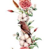 Watercolor vertical border with bird and flowers. Hand painted tree border, cotton, branch, dahlia, berries and leaves, lagurus isolated on white background. Illustration for design or background. - 225566144