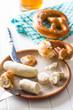The bavarian weisswurst, pretzel and mustard. - 225569522