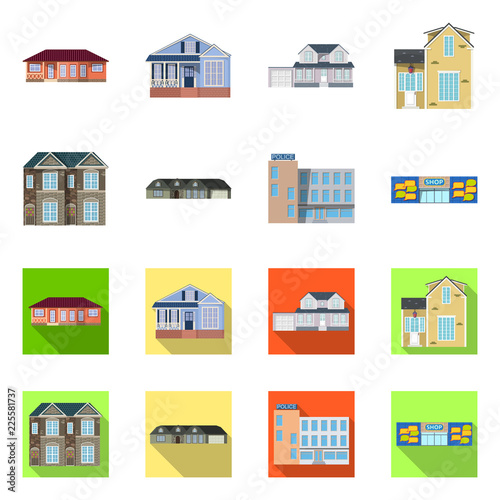 Vector design of building and front symbol. Collection of building and roof vector icon for stock. © Svitlana