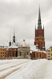 Riddarholmskyrkan in winter, medieval church in Stockholm. - 225583336