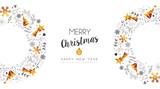 Christmas and new year retro gold decoration card