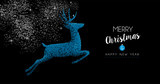 Christmas and New Year blue deer greeting card