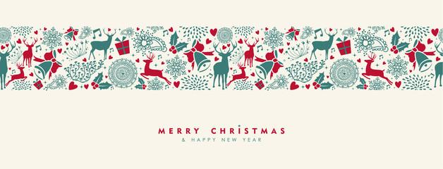 Christmas and New Year vintage deer banner © cienpiesnf