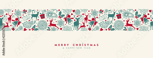 Christmas and New Year vintage deer banner - 225587321