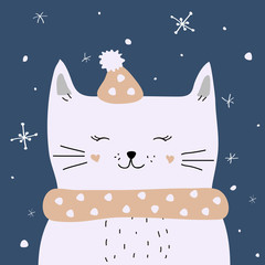 White cat is enjoying the snow, vector Christmas card