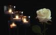 Leinwandbild Motiv Burning candles and rose flower on dark background. Funeral symbol
