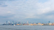 Skyline of Downtown Manhattan over Hudson River