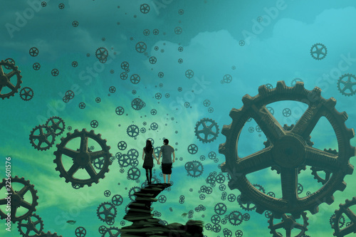 2d illustration. Imaginary dreamlike motivational illustration.   Person dreaming. © Jakub