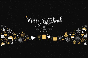 Christmas background with element icons banner, snowflakes. Vector illustration