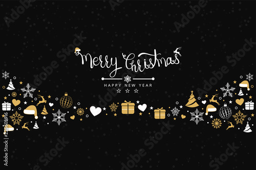 Christmas background with element icons banner, snowflakes. Vector illustration - 225605916