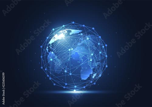 Globalne połączenie sieciowe. Mapa świata i koncepcja składu linii globalnego biznesu. Ilustracja wektorowa