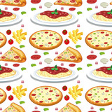 Pasta and pizza seamless pattern - 225612599