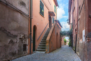 Street and houses of Tuscania, Italy