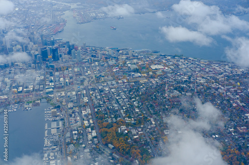 City view of Seattle, top view of downtown Seattle skyline in Seattle Washington, USA - 225619344