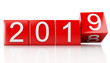 Leinwanddruck Bild - 3d New Year 2019