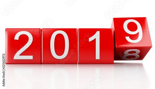Leinwanddruck Bild 3d New Year 2019