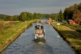 Ships in inland navigation on the Elbląg Canal, Poland - 225629548