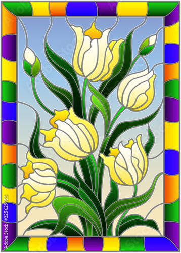 illustration-in-stained-glass-style-with-a-bouquet-of-yellow-tulips-on-a-blue-background-in-a-bright-frame-rectangle-image