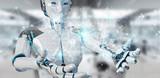 White woman humanoid using digital globe hud interface 3D rendering - 225634976