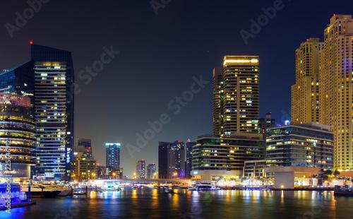 Dubai marina night scene in the UAE
