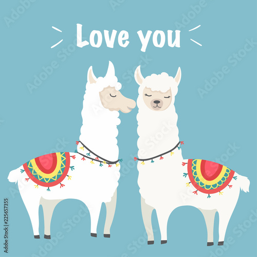cute llama illustration with colorful style