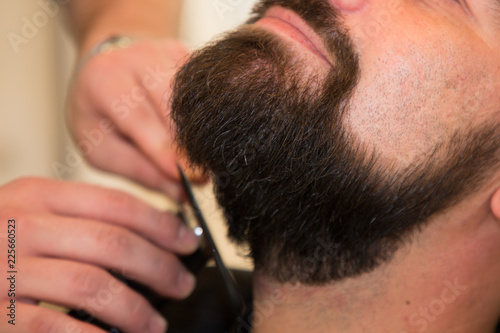 bearded man get beard haircut by hairdresser while sitting in chair barber shop © sylv1rob1