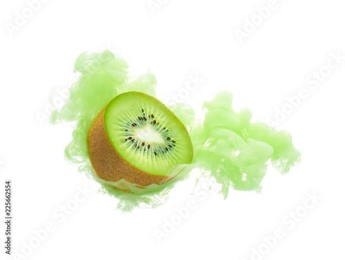 Kiwi fruit with ink isolated over white background - 225662554
