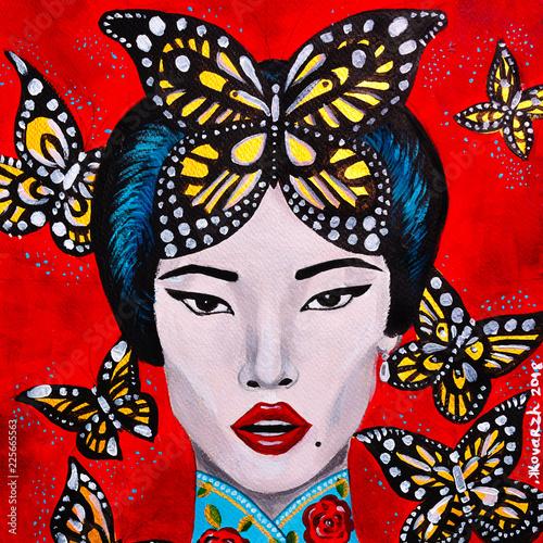 bello dipinto donna orientale bella e farfalle sfondo rosso - 225665563