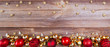 christmas background with red and golden decorations