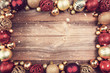 Leinwandbild Motiv christmas background with red and golden decorations