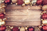 christmas background with red and golden decorations - 225667551