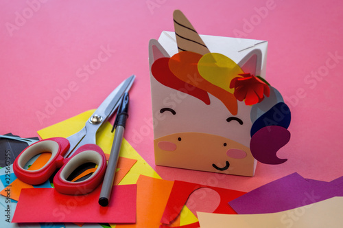 Unicorn of paper on a pink background - 225667955
