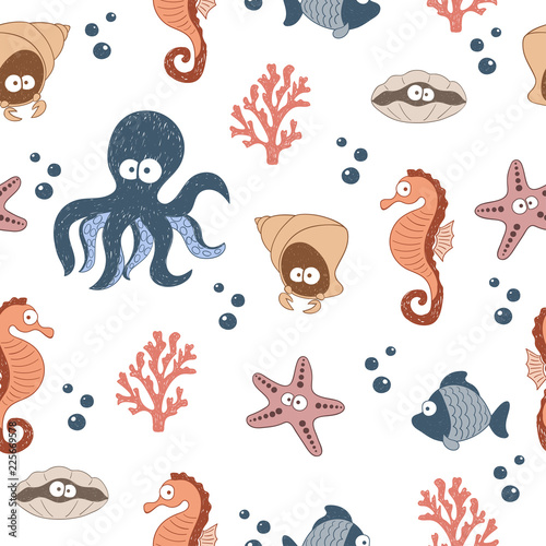 Seamless pattern with cute sea animals. Vector childish background.