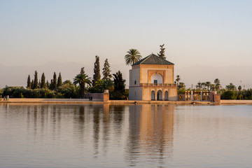 The Menara gardens are botanical gardens located to the west of Marrakech, Morocco, near the Atlas Mountains.
